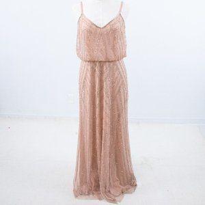 BHLDN Adrianna Papell 14 Beaded Maxi Dress Pink